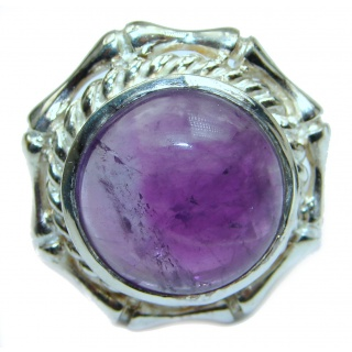 Natural Amethyst .925 Sterling Silver handmade Cocktail Ring s. 8 1/2