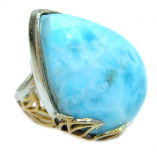 Natural Larimar two tones .925 Sterling Silver handcrafted Ring s. 8 adjustable