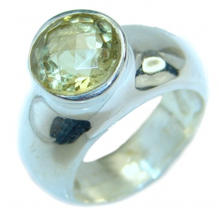 Natural Citrine .925 Sterling Silver handcrafted Ring s. 8 3/4