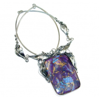 Great Quality Purple Turquoise Oxidized .925 Sterling Silver handmade Necklace