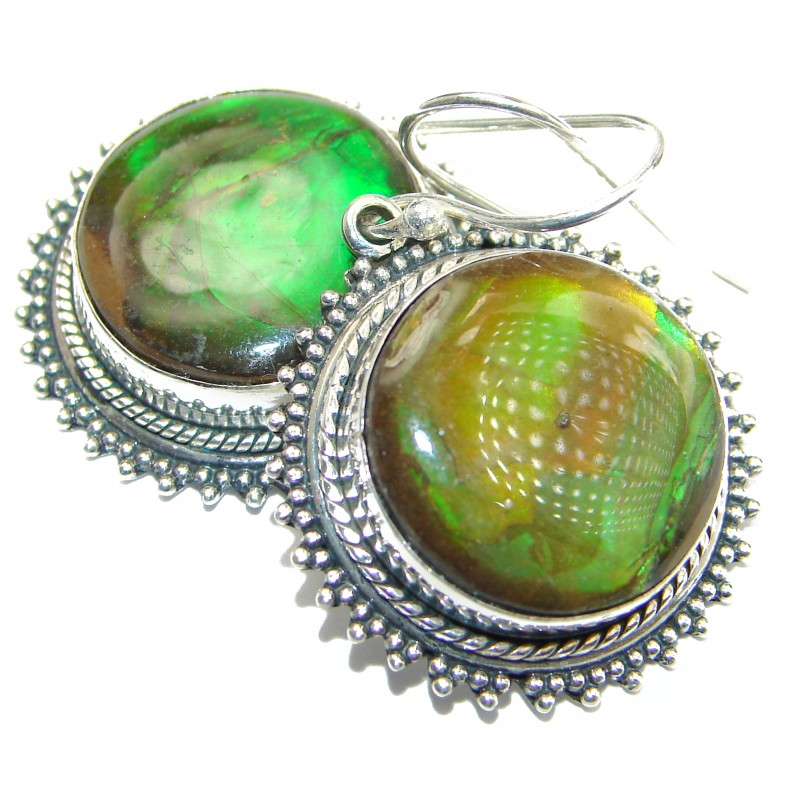 Red Aura AAA + Fire Ammolite .925 Sterling Silver handcrafted earrings