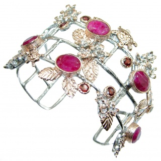 Radiant Red Beauty Ruby Rose Gold over .925 Sterling Silver handcrafted Bracelet bangle