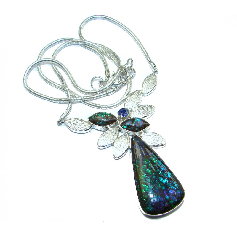 Natural Canadian Ammolite 14K Gold Rhodium over .925 Sterling Silver handmade necklace