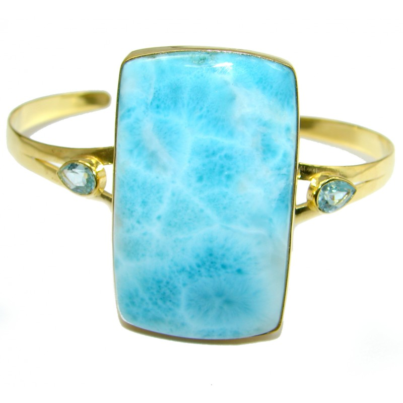 Perfect Harmony Blue Larimar 14K Gold over .925 Sterling Silver handcrafted Bracelet / Cuff