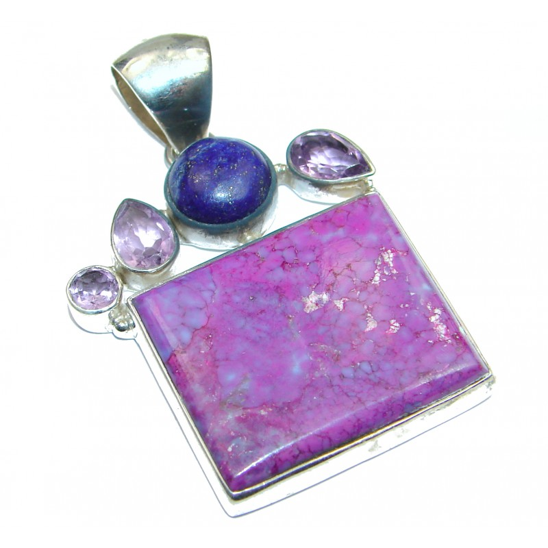 Genuine Purple Turquoise .925 Sterling Silver handcrafted Pendant