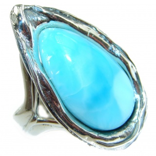 Pure Perfection Natural Larimar .925 Sterling Silver handcrafted Ring s. 8 adjustable