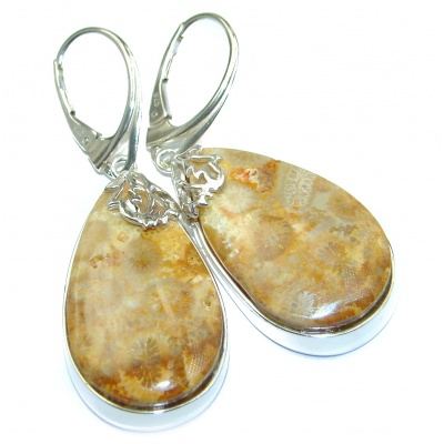 Boho Style Genuine Fossilized Coral .925 Sterling Silver handmade earrings
