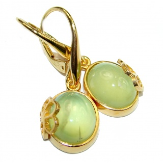 Sublime Authentic Moss Prehnite 14K Gold over .925 Sterling Silver handmade earrings