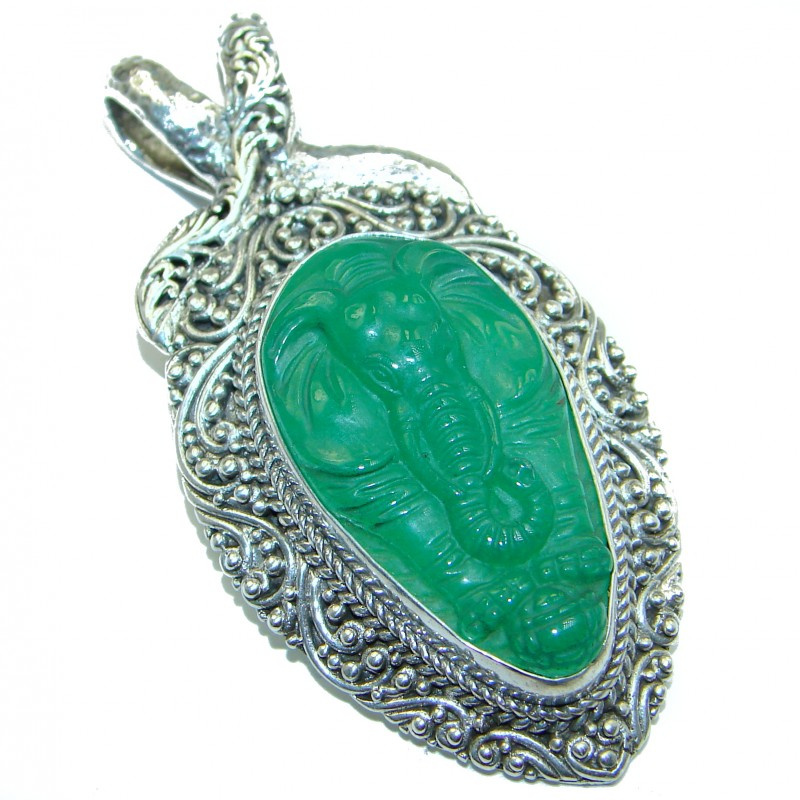 Lucky Elephant genuine Green Jade .925 Sterling Silver handcrafted Pendant