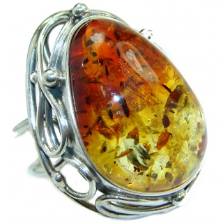 Huge Genuine Butterscotch Baltic Polish Amber .925 Sterling Silver handmade Ring size 7 adjustable