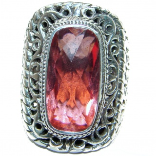 Top Quality Raspberry Topaz .925 Sterling Silver handcrafted Ring s. 7