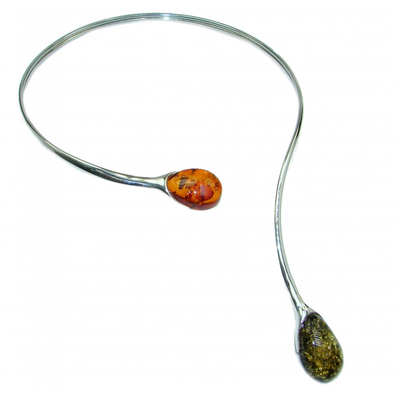 Huge Touch the Earth Natural Polish Amber .925 Sterling Silver handcrafted necklace
