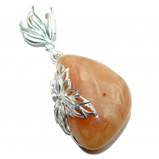Very Rare Natural Pink Baltic Amber .925 Sterling Silver handmade Pendant