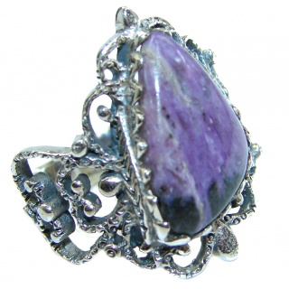 Natural Siberian Charoite .925 Sterling Silver handcrafted ring size 7