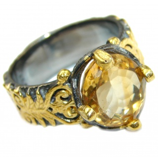 Natural Citrine 14K Gold over .925 Sterling Silver handcrafted Ring s. 7