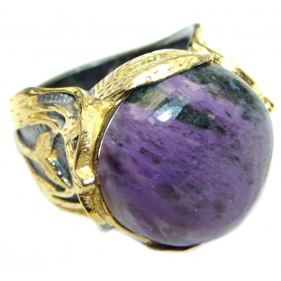 Natural Siberian Charoite 14K Gold over .925 Sterling Silver handcrafted ring size 6 1/4