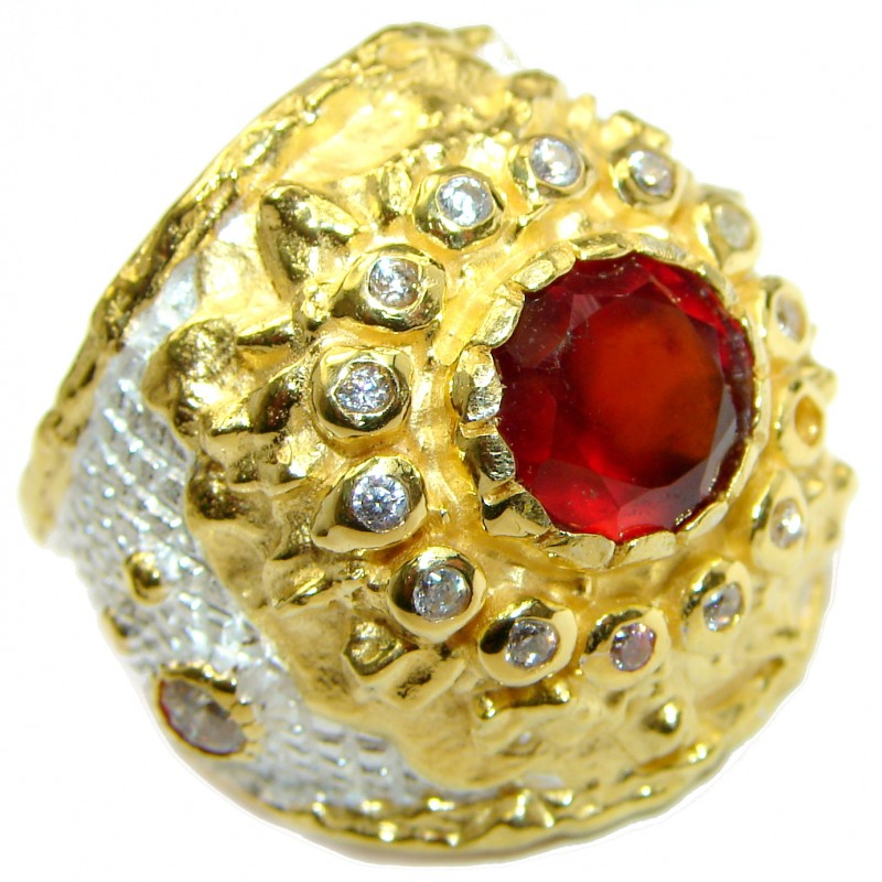 Large genuine Ruby 14K Gold over .925 Sterling Silver Statement Italy made ring; s. 6