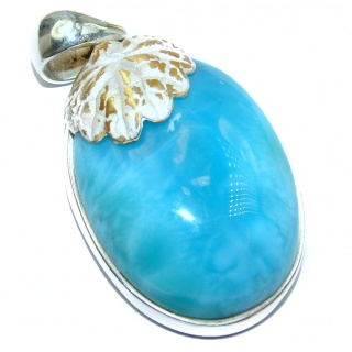 Rustic Design 75 ct perfectly Blue Larimar .925 Sterling Silver handmade pendant