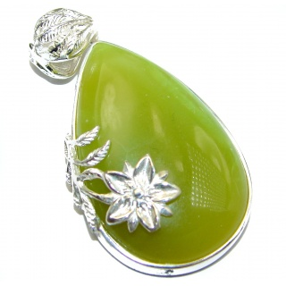 Unique African Green Opal .925 Sterling Silver handcrafted Pendant
