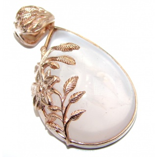 Timeless Beauty Rose Quartz Gold over .925 Sterling Silver handcrafted Pendant