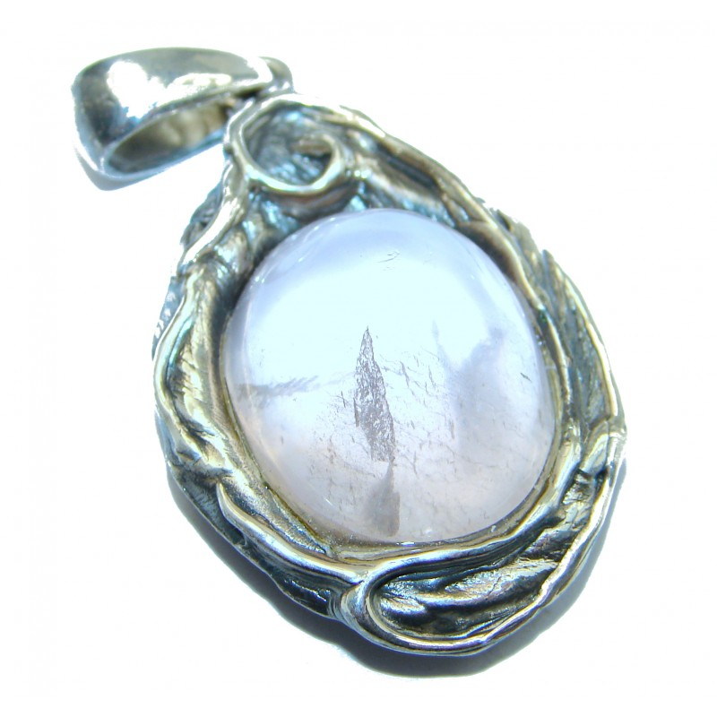 Huge Pink Power 96ct Rose Quartz .925 Sterling Silver handcrafted Pendant