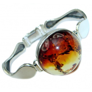 Wonderful genuine Baltic Amber .925 Sterling Silver handmade Bracelet