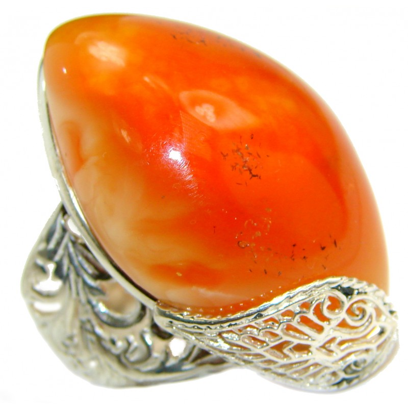 Huge RARE Pink Butterscotch Baltic Polish Amber .925 Sterling Silver handmade Ring size 7 adjustable