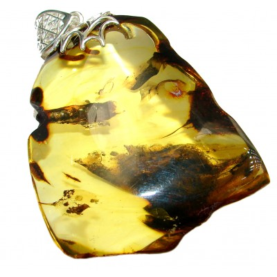 Back to Nature HUGE natural Baltic Amber .925 Sterling Silver handmade Pendant