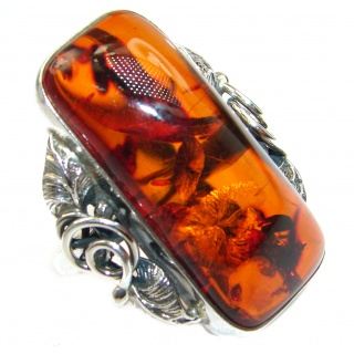 Large Genuine Baltic Polish Amber .925 Sterling Silver handmade Ring size 10
