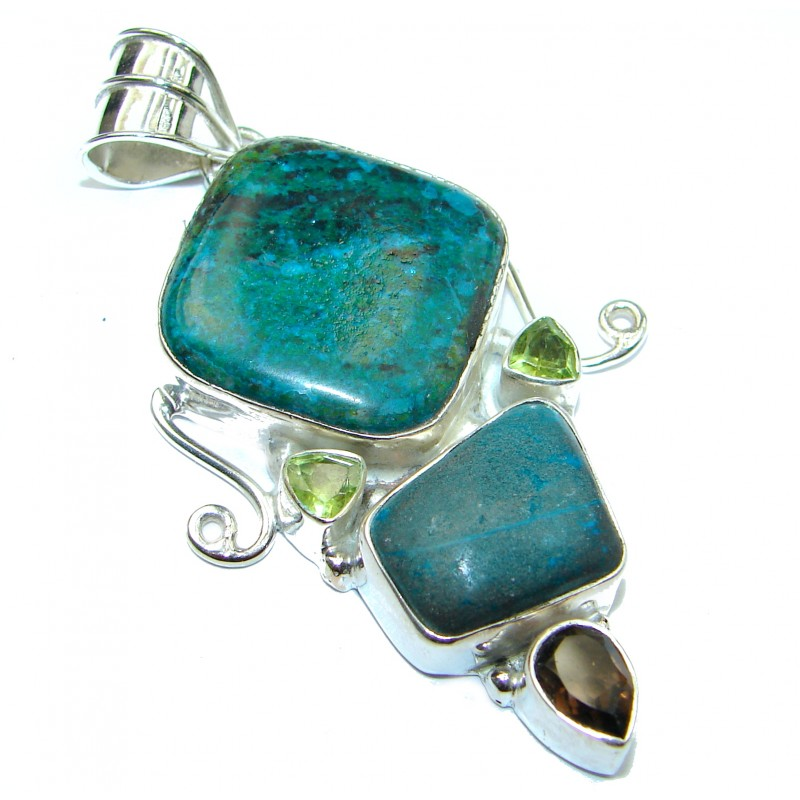 Awesome style Chrysocolla .925 Sterling Silver Pendant