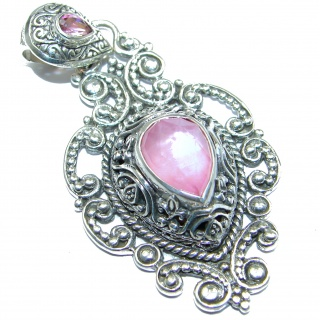 Amazing Peach Mother of Pearl .925 Sterling Silver handcrafted Pendant