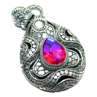 Vintage Design Pink Magic Topaz .925 Sterling Silver handcrafted Pendant