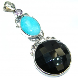 Huge Perfect quality Black Onyx .925 Sterling Silver Handmade Pendant