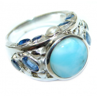 Treasure Blue Larimar Kyanite .925 Sterling Silver handmade ring s. 9