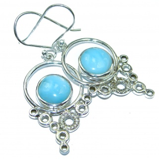 Spiders Precious genuine Blue Larimar .925 Sterling Silver handmade earrings