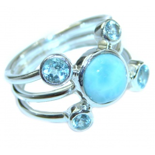 Bali Treasure Precious Blue Larimar .925 Sterling Silver handmade ring s. 7 1/4