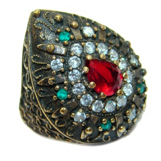 Large Victorian Style created Ruby & White Topaz Sterling Silver ring; s. 6