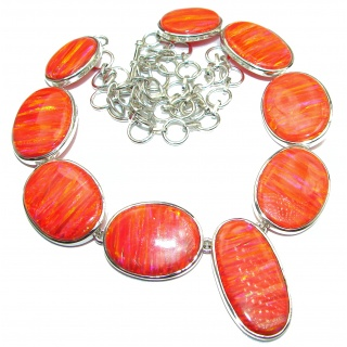 Spectacular Japanese Fire Opal .925 Sterling Silver brilliantly handcrafted necklace