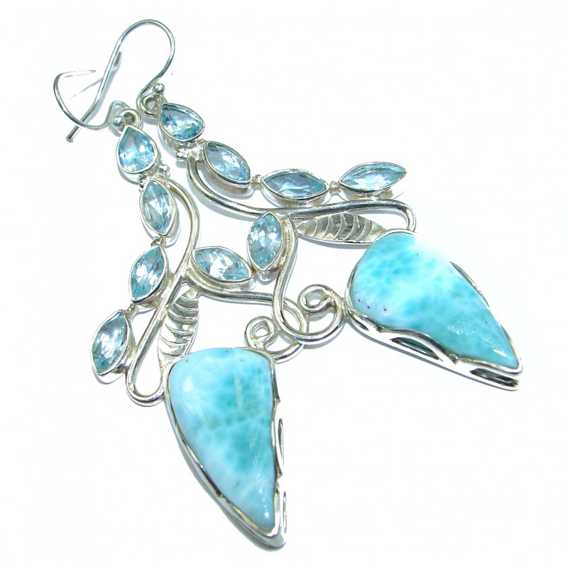 LARGE Precious genuine Blue Larimar .925 Sterling Silver handmade earrings