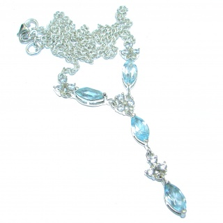 Ocean Inspired genuine Swiss Blue Topaz .925 Sterling Silver handmade necklace