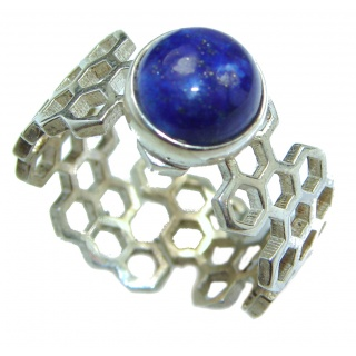 Ocean Inspired Lapis Lazuli .925 Sterling Silver handmade Cocktail Ring s. 6 adjustable
