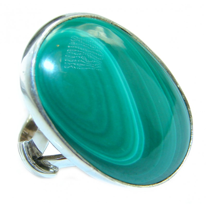 Natural Sublime quality Malachite .925 Sterling Silver handcrafted ring size 6