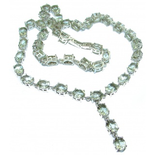 Sublime genuine Green Amethyst .925 Sterling Silver handcrafted necklace