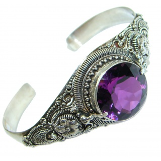 Genuine Amethyst .925 Sterling Silver handcrafted Bracelet / Cuff