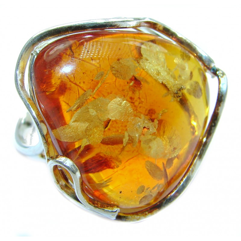 Huge Baltic Amber .925 Sterling Silver ring; s. 8 adjustable
