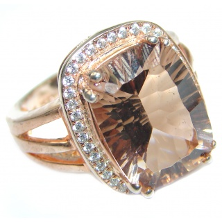 Blush Morganite 14K Rose Gold over .925 Sterling Silver handcrafted ring s. 7 1/2