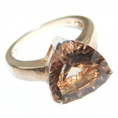 Exceptional Morganite 14K Rose Gold over .925 Sterling Silver handcrafted ring s. 6 1/4
