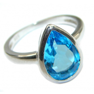 Energazing Swiss Blue Topaz .925 Sterling Silver handmade Ring size 6 1/4