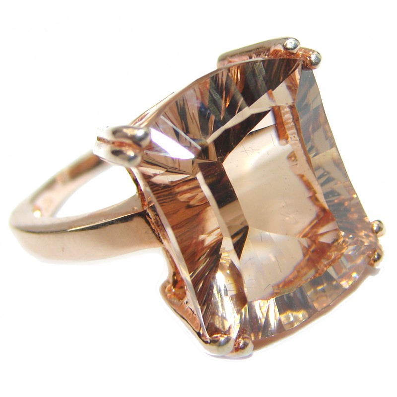 Emerald cut Morganite 14K Rose Gold over .925 Sterling Silver handcrafted ring s. 6