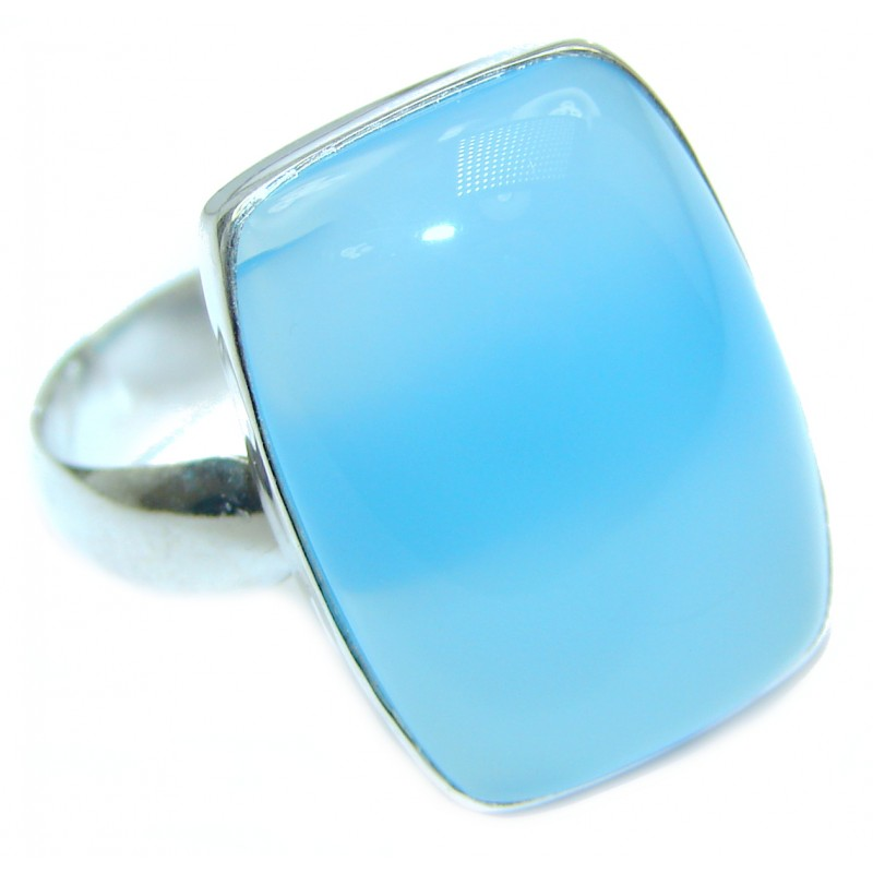 Blue Chalcedony Agate .925 Sterling Silver handcrafted Ring s. 7 adjustable
